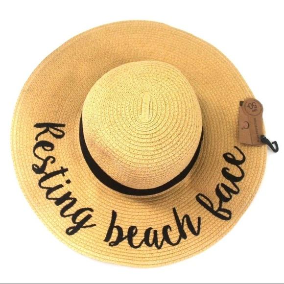 C.C Exclusives Resting Beach Face Wide Brim Hat e2f294901bf